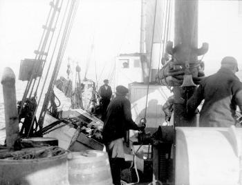"Equipment and supplies were transported from Bergen to Tromsø on Den norske Spitsbergenekspedisjonen's ship ""Farm"". In Tromsø, everything was loaded on to the boat that had been chartered for the expedition to Novaya Zemlya, the ""Blaafjell"", a relatively small motor cutter breaker, weighing only 50 tonnes. To accommodate all participants, the boat had to be adapted, and extra sleeping quarters were set up in the ship's hold. The ""Blaafjell"" left Tromsø on 26 June. The last stop in Norway was Vardø, where the final participant, Grønlie, came aboard with more equipment and they stocked up on fresh water. On 30 June, the course was set for Novaya Zemlya."
