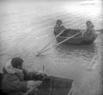 "Early in the morning of 7 July, the expedition arrived at the small Samoyed colony in the Pomorskaya Bay, on the west coast of the southern island of Novaya Zemlya. The Samoyed colony had been set up there by the Russian authorities in the 1870s and relied on supplies from the mainland to survive, in addition to any birds, fish, seals, etc. that they managed to catch. When they noticed the ship, several Samoyeds rowed out to greet the expedition and went aboard the ""Blaafjell""."