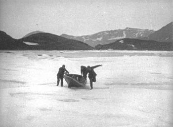 "During the early hours of 19 June, a large amount of drifting ice entered the strait, causing problems for the ""Blaafjell"". To get an overview of the situation, Holtedahl, Grønlie and Storli tried to get further east into the Tyouleni Bay and into the Matochkin Strait by dragging a rowing boat over the drifting ice. From a viewpoint on land, they discovered that there was even more ice in the Kara Sea at the eastern mouth of the strait and that they risked becoming trapped in the strait. They therefore rowed back to the boat as quickly as they could and sounded the fog horn to signal to the others who were still on land to return to the ""Blaafjell"". Meanwhile the ice was closing in around the boat. Holtedahl decided that they would have to try to force their way through the ice and out to open waters."