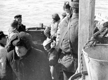 "In the morning of 17 August, a small open motorboat came up to the ""Blaafjell"", carrying an inspector from the Soviet authorities. The motorboat had come from the Russian patrol boat the ""Kupawa"", which was anchored near the Gorboff islands. The Russian inspector came aboard, asked who they were, and examined the expedition's papers. Satisfied that nothing was amiss, the inspector left the ""Blaafjell"", and the patrol boat left the area that evening."