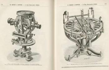 "Teodolitt, vinkelmåleinstrument, til venstre og måleinstrument for geometriske sirkler til høyre. Fra produsenten H. Morin & Gensse, Paris. ""L'industrie Franchaise des Instruments de Precision"". Catalogue. Paris 1901-1902."