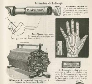 "Radiologiutstyr, produsert av Radiguet & Massiot, Paris. ""L'industrie Franchaise des Instruments de Precision"". Catalogue. Paris 1901-1902."